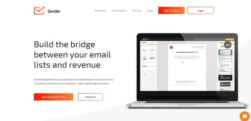 Sender email marketing software